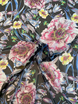 Flowers and Tulips Printed Silk Chiffon - Multicolor