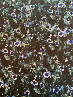 Sophisticated Floral Printed Stretch Silk Charmeuse - Black / Green / Blue