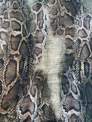 Reptile Printed Satin Silk Chiffon - Black / Olive / Brown