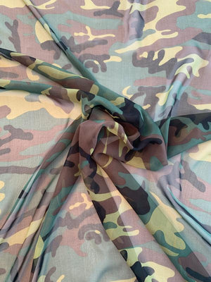 Camouflage Printed Silk Chiffon - Army Green / Brown / Black