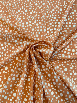 Scattered Spotted Printed Stretch Silk Chiffon - Caramel / Off-White