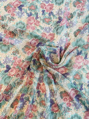 Vintage-Look Floral Printed Silk Chiffon - Pale Multicolor
