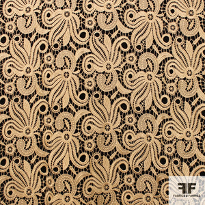 Abstract Floral Guipure Lace - Gold