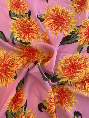 Carolina Herrera Floral Printed Silk Georgette - Pink / Yellow / Orange / Green
