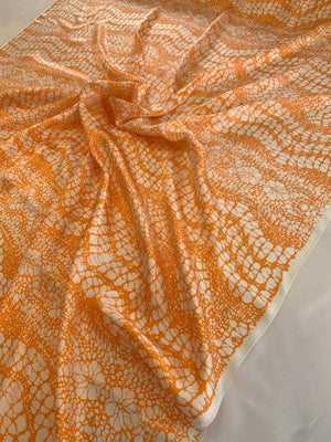 Wavy Abstract Printed Silk Charmeuse - Orange / White