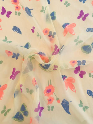 Butterfly and Floral Printed Silk Chiffon - Butter Yellow / Coral / Blue / Purple