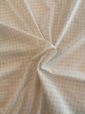 Small Windowpane Cotton Shirting - White / Tan