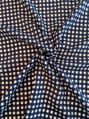 Gingham Check Seersucker Printed Cotton Voile - Navy / White