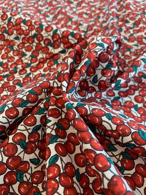 Cherries Printed Cotton Lawn - Red / Green / White