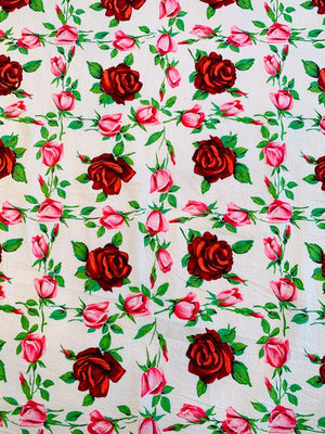 Floral Rose Plisse Stretch Printed Cotton Shirting - White / Red / Pink / Green