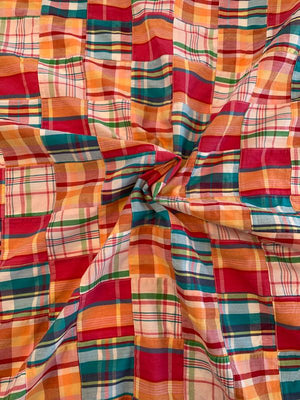 Patchwork Madras Plaid Cotton Shirting - Multicolor