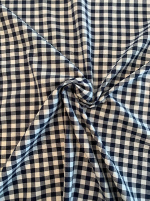Gingham Check Baby Flannel Cotton Poly - Navy / White