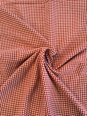 Double-Sided 2-Ply Gingham Check Cotton Chambray  - Red / White / Blue