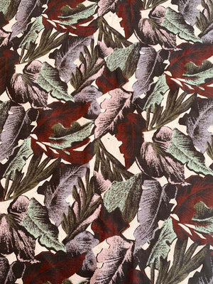 Large Leaf Printed Cotton Twill - Maroon / Lavender / Sage / Pink