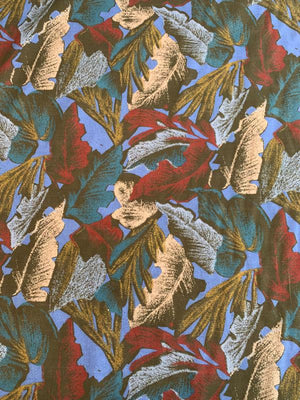 Large Leaf Printed Cotton Twill - Wine / Teal / Blue / Mauve