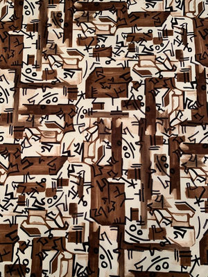 Twentieth Century Abstract Artistic Printed Stretch Cotton Sateen - Chocolate / Tan / Black / Ivory