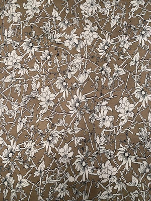 Whimsical Floral Printed Stretch Cotton - Taupe / White / Black