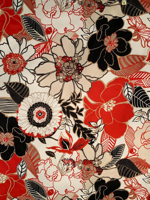 Bold Flowers and Leaves Printed Stretch Cotton Sateen - Red / Black / Beige / White