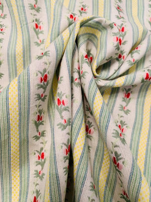 Country Living Floral Striped Yarn-Dyed Home Decorative Cotton - Blue / Sage / Yellow / Red