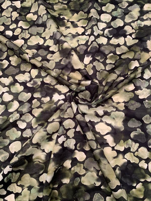 Watercolor Shadow Light-Weight Printed Cotton Sateen - Green / Black