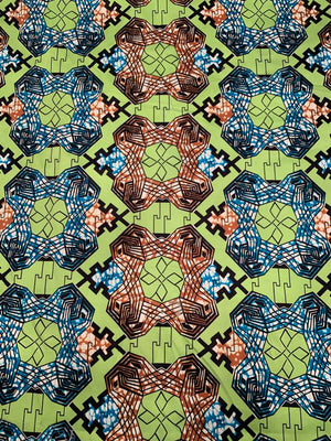 Art Deco Ethnic Printed Stretch Cotton Sateen - Lime / Dark Turquoise / Saddle / Black