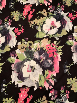 Large Floral Printed Cotton Poplin - Kiwi / Hot Pink / Black / White