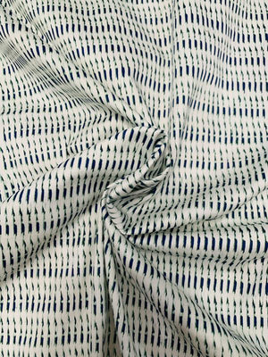 Broken Striped Printed Stretch Cotton Sateen - Off-White / Navy / Green