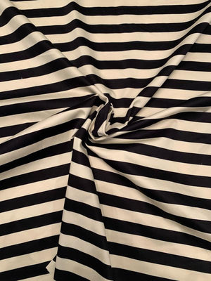 Horizontal Striped Stretch Printed Cotton Sateen - Black / Ivory