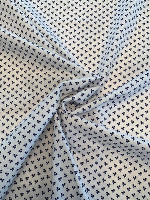 Ditsy Floral Fine Cotton Broadcloth - Navy / White