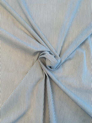 Vertical Pinstripe Yarn-Dyed Cotton Shirting - Navy / White