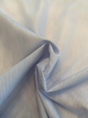 Vertical Pinstripe Yarn-Dyed Cotton Shirting - Blue / White