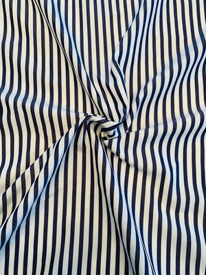 Vertical Striped Fine Yarn-Dyed Cotton Broadcloth - Denim Blue / White