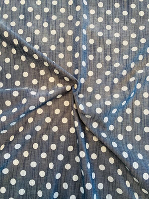 Polka Dot Printed Cotton Chambray - Denim Blue / White