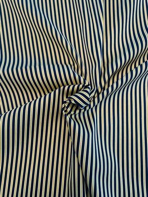 Vertical Striped Stretch Cotton Sateen - Navy / Yellow / White