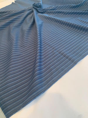 Vertical Striped Yarn-Dyed Lightweight Cotton Twill - Navy / Blue / Grey