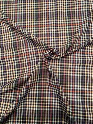 Plaid Yarn-Dyed Cotton Shirting - Navy / Multicolor