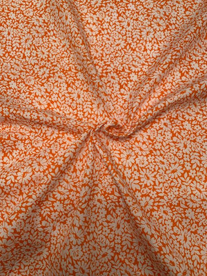 Summer Floral Cotton Poplin - Orange / White