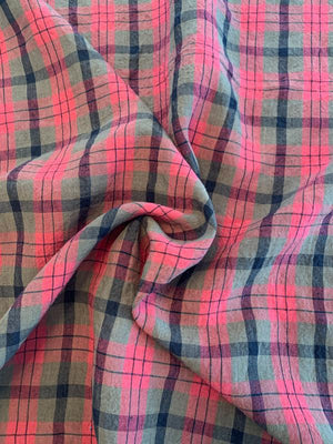 Crinkled Plaid Washed Yarn-Dyed Linen Cotton - Coral Red / Brown / Black
