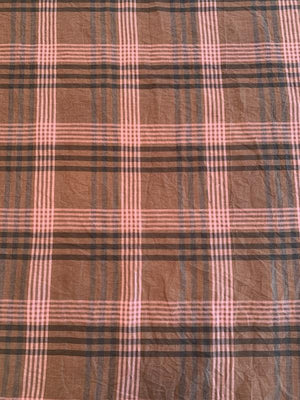 Crinkled Plaid Washed Yarn-Dyed Linen Cotton - Pink / Grey / Brown