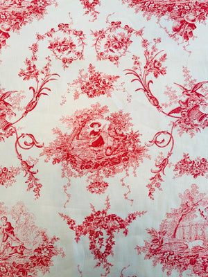 Toile Printed Linen Cotton - Red / Off-White