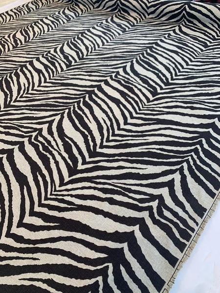 Zebra Printed Cotton Linen - Brown / Natural