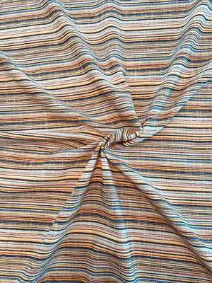 Woven Horizontal Striped Yarn-Dyed Cotton Linen - Multicolor