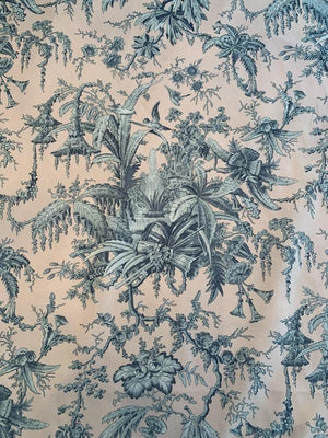 Antique Pavilion Floral Cotton Sheeting - Dusty Peach / Gravel Grey