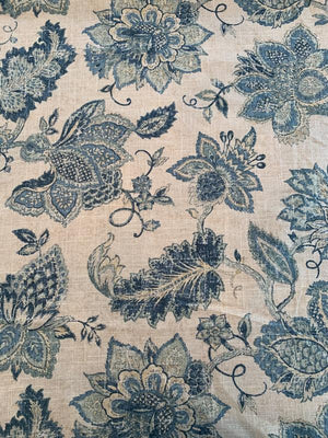 Home Dec Noblesse Floral Printed Linen Viscose - Natural / Teal / Sage
