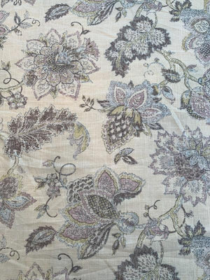Home Dec Noblesse Floral Printed Linen Viscose - Ivory / Taupe
