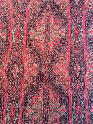 Ottoman Empire Printed Linen Viscose - Red / Orange / Black / Hunter Green