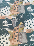 Geometric Collage Heavy Silk Habotai - Olive / Sage / Ivory / Light Brown