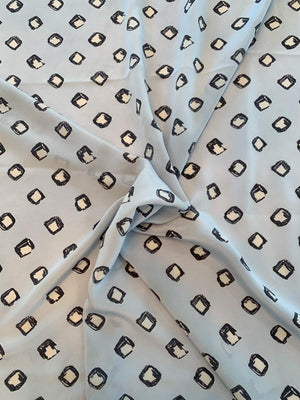 Diamond Spots Printed Silk Crepe de Chine - Light Blue / Grey / Off White