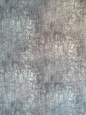 Cracked Soil Printed Silk Habotai - Grey / Black / White