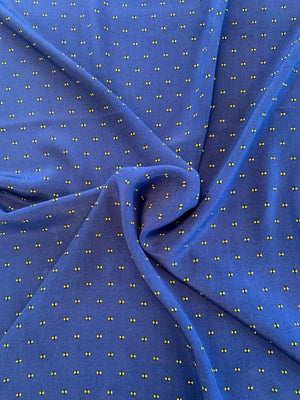 Mini Fireflies Dotted Printed Silk Crepe de Chine - Blue / Black / Yellow